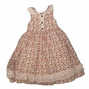 LAURA ASHLEY LONDON SLEEVELESS FLORAL RUFFLE DRESS